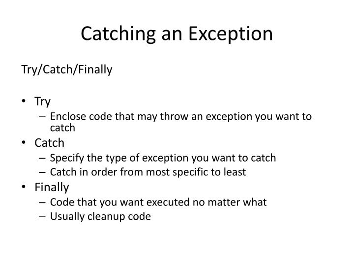 Catching an Exception