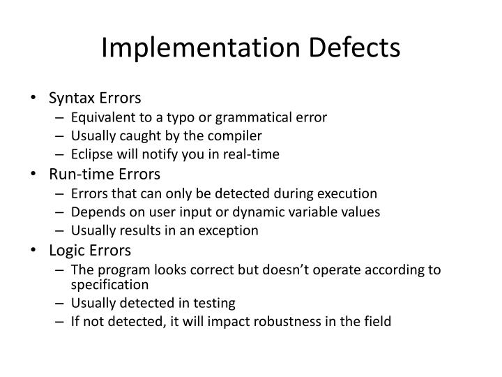 Implementation Defects