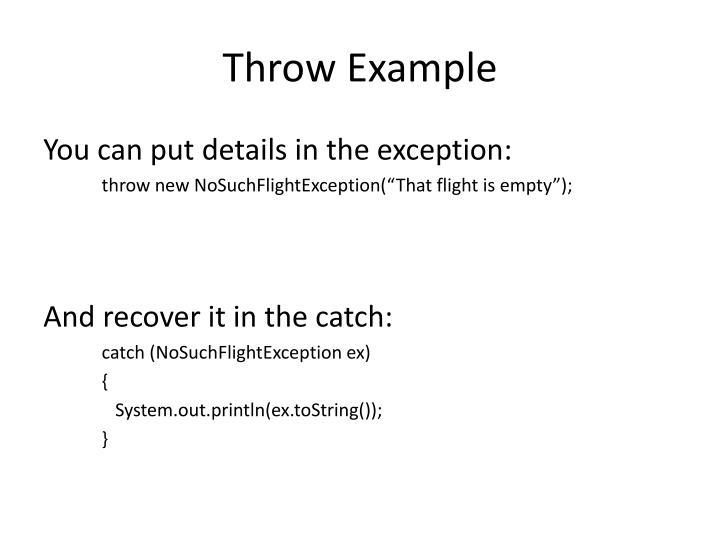 Throw Example