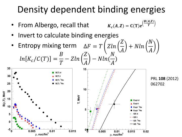 Density dependent binding energies