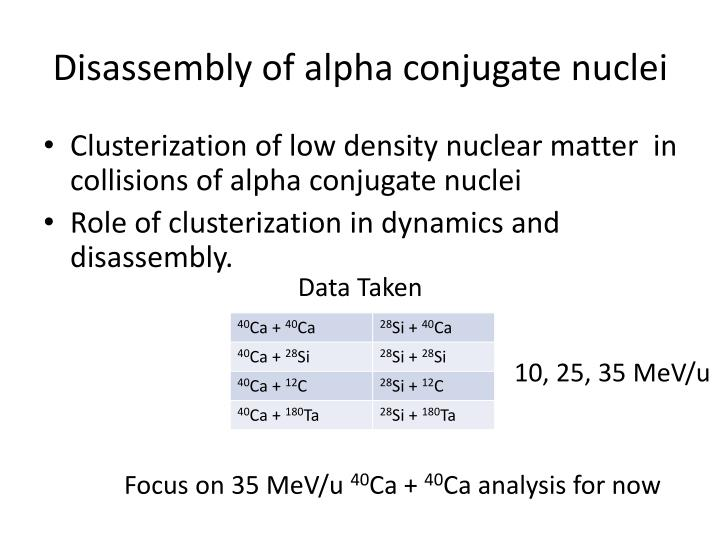Disassembly of alpha conjugate nuclei