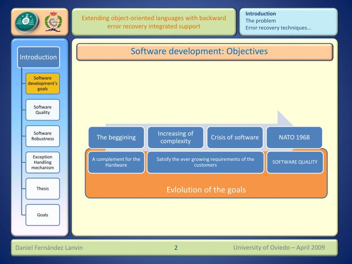 Software development objectives