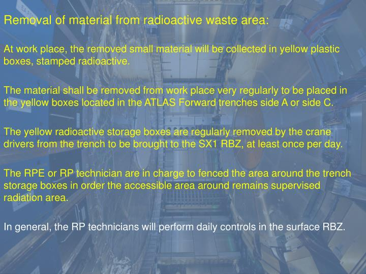 Removal of material from radioactive waste area: