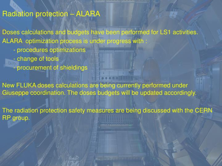 Radiation protection – ALARA