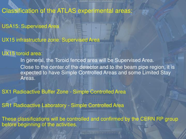 Classification of the ATLAS experimental areas: