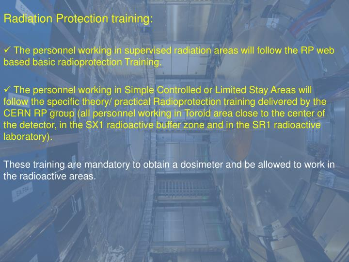 Radiation Protection training: