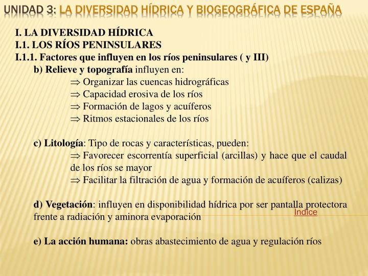 I. LA DIVERSIDAD HÍDRICA