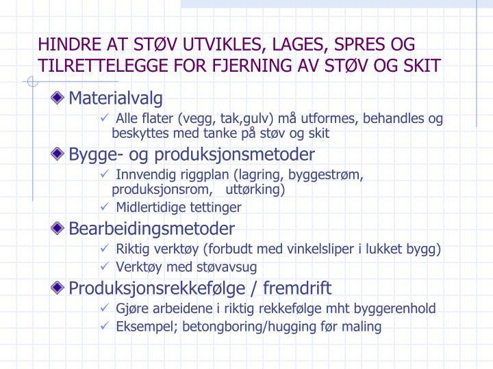 HINDRE AT STØV UTVIKLES, LAGES, SPRES OG TILRETTELEGGE FOR FJERNING AV STØV OG SKIT
