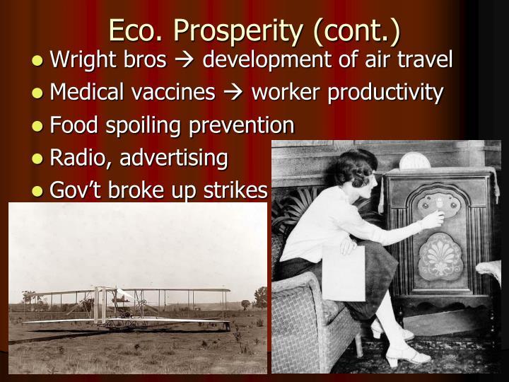 Eco. Prosperity (cont.)