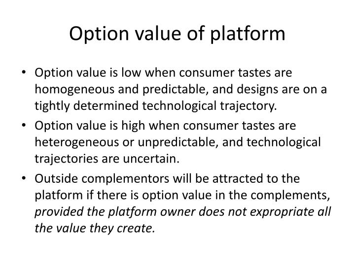 Option value of platform