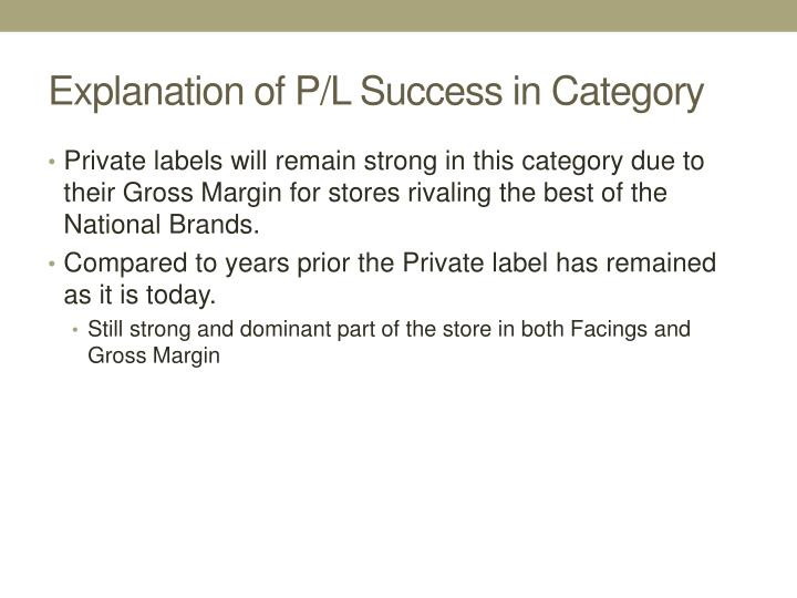 Explanation of P/L Success in Category