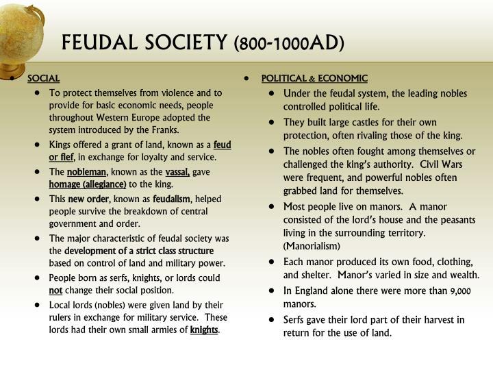 FEUDAL SOCIETY (800-1000AD)