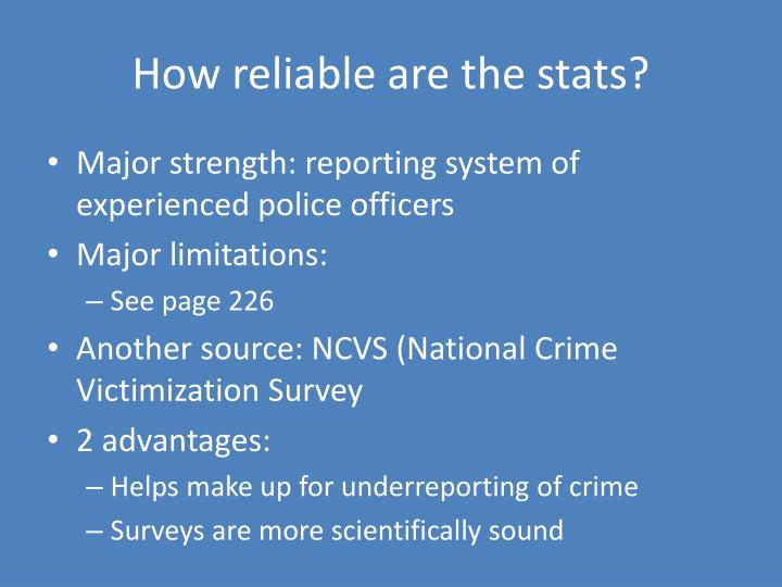 How reliable are the stats?