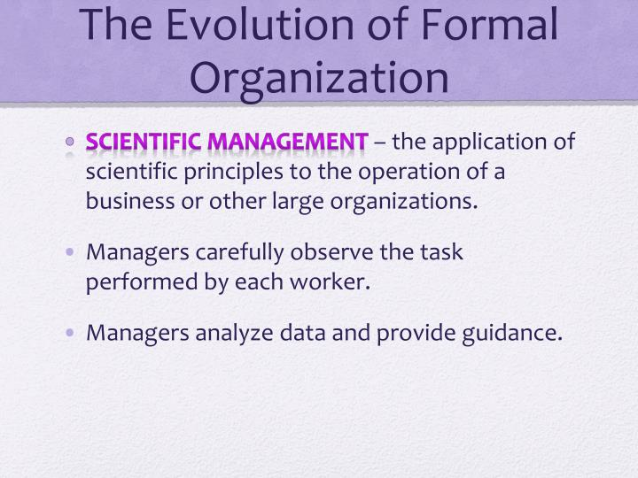 evolution of formal organizations paper Organizational theory is the study of formal social organizations, such as businesses and bureaucracies, and their interrelationship with the environment in which they operate.