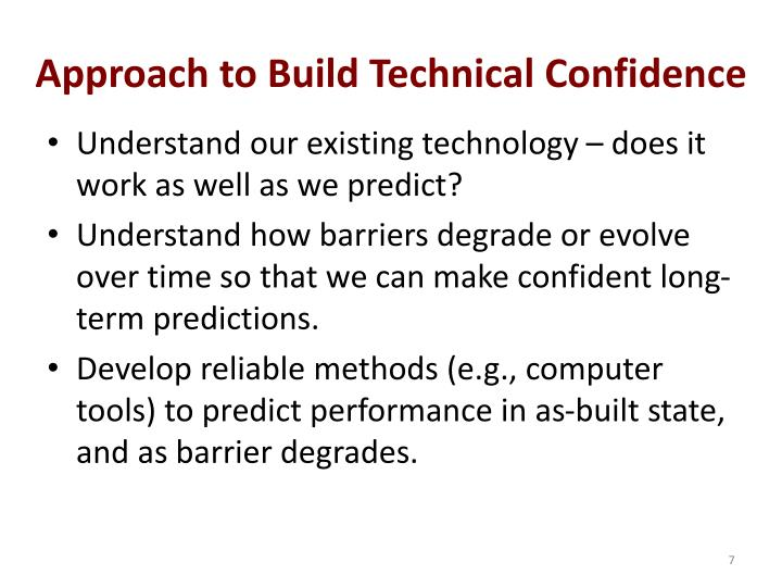Approach to Build Technical Confidence