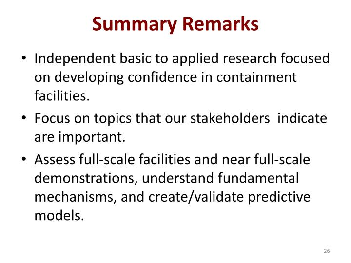 Summary Remarks