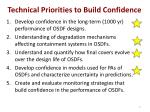 technical priorities to build confidence