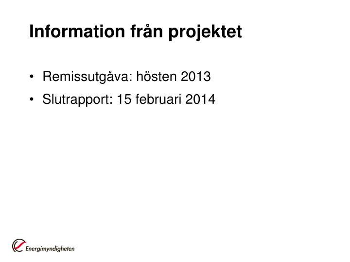 Information från projektet