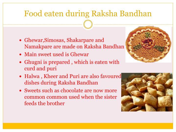 Food eaten during Raksha Bandhan