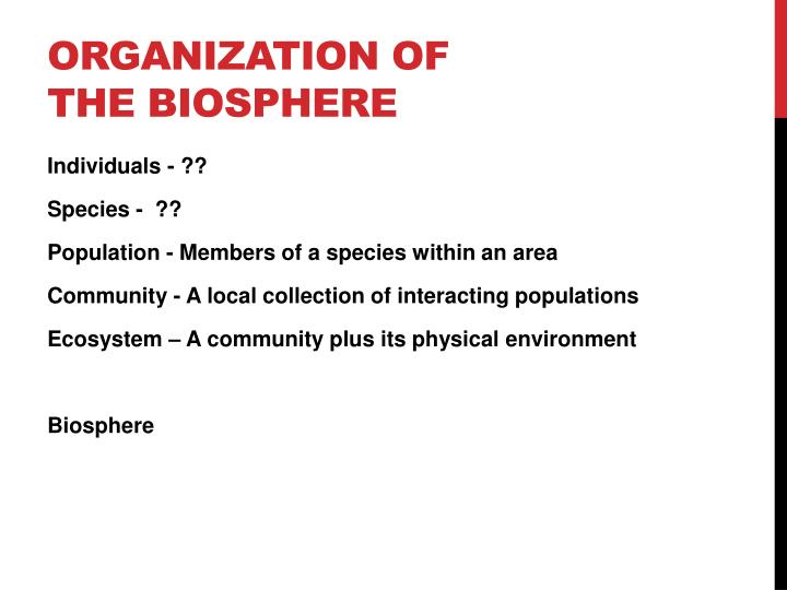 Organization of the Biosphere