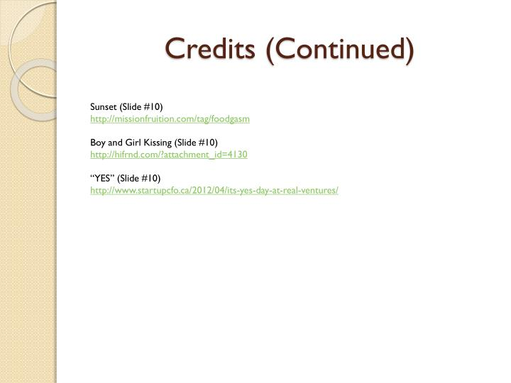 Credits (Continued)
