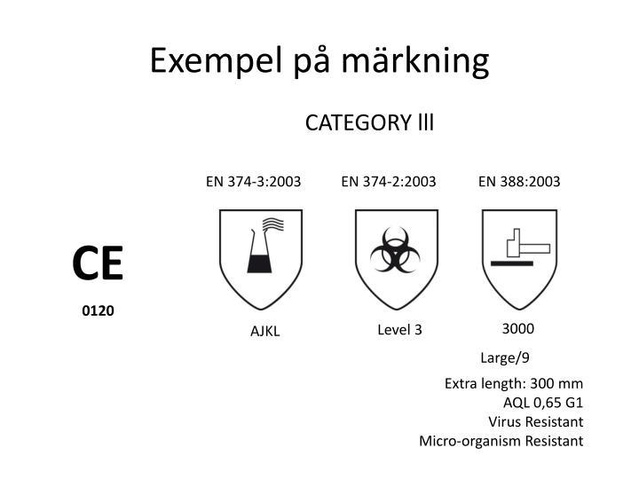 Exempel på märkning