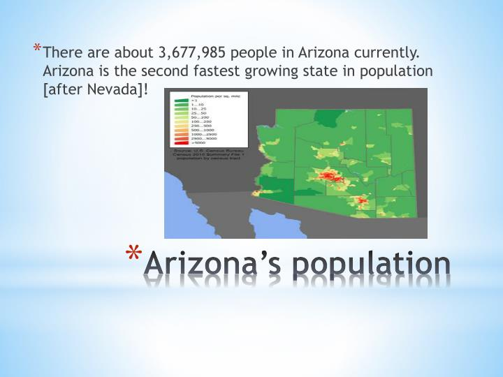 There are about 3,677,985 people in Arizona currently.  Arizona is the second fastest growing state in population [after Nevada]!