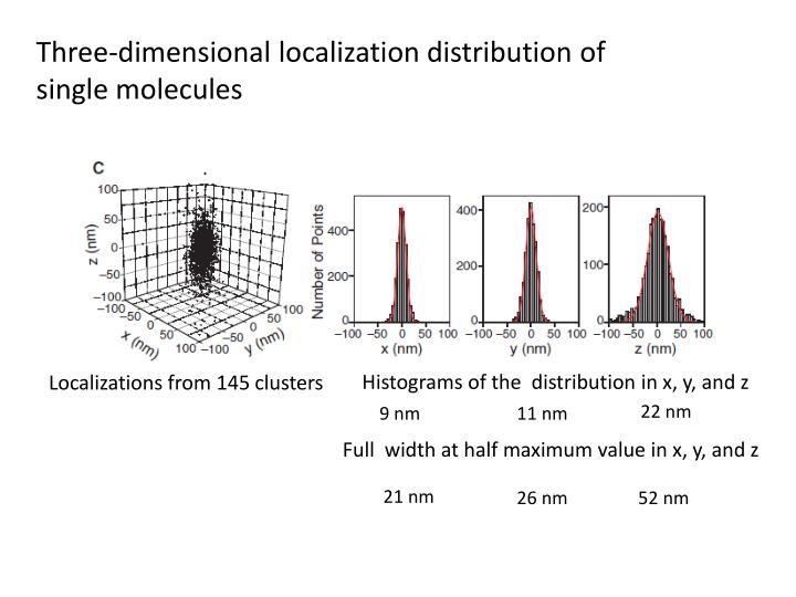 Three-dimensional localization distribution of