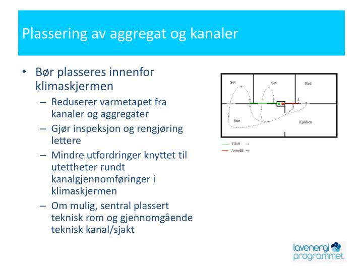 Plassering av aggregat og kanaler