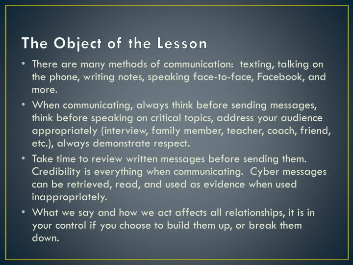The Object of the Lesson