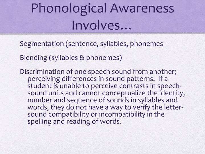 Phonological Awareness Involves…