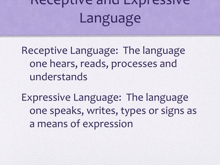 Receptive and Expressive Language