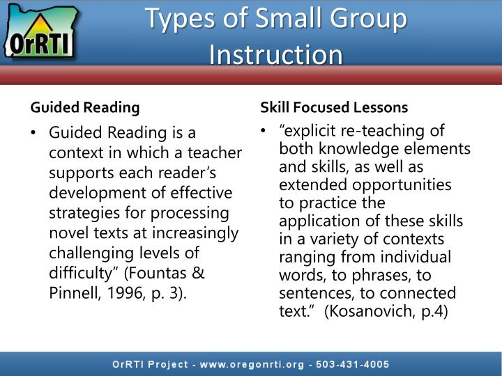 Types of Small Group Instruction