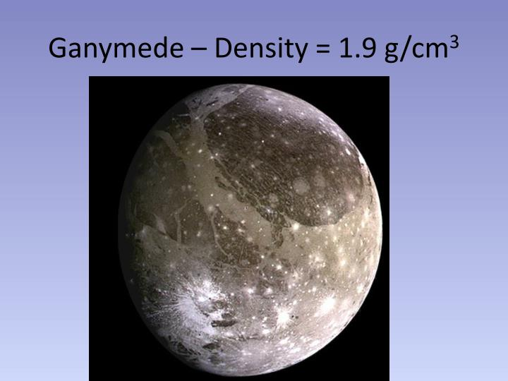 Ganymede – Density = 1.9 g/cm