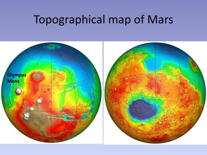 Topographical map of Mars