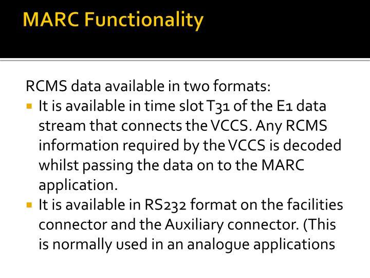MARC Functionality