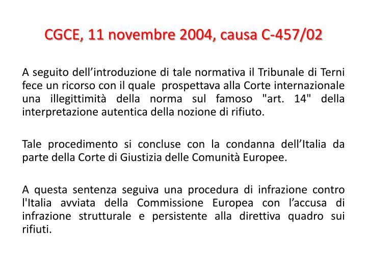 CGCE, 11 novembre 2004, causa C-457/02