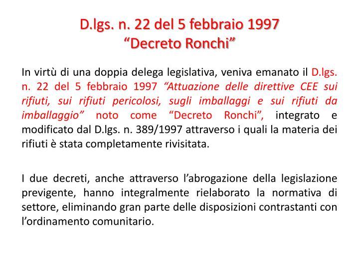 D.lgs. n. 22 del 5 febbraio 1997