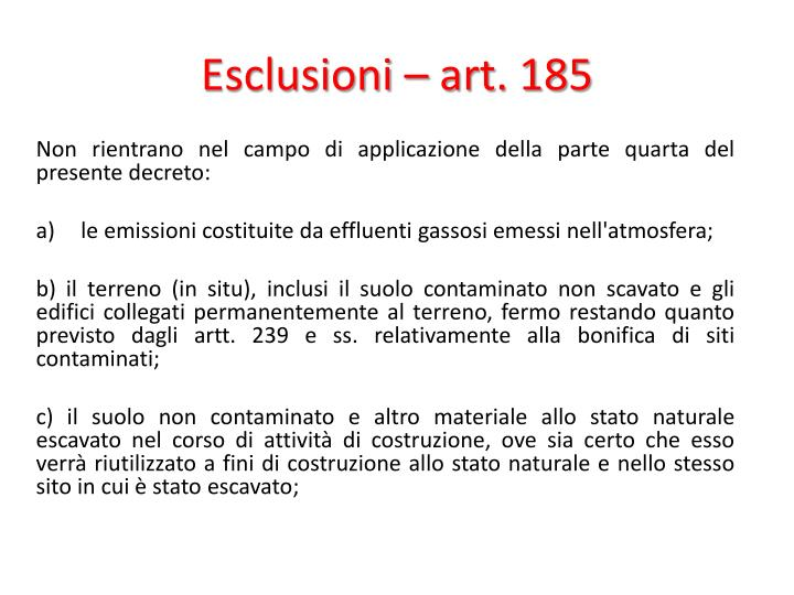 Esclusioni – art. 185