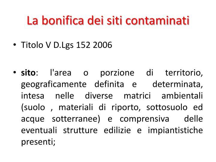 La bonifica dei siti contaminati