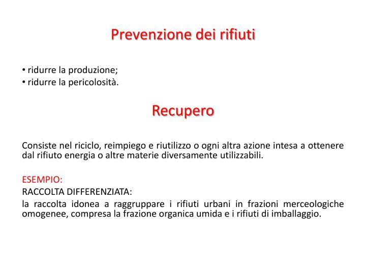 Prevenzione dei rifiuti