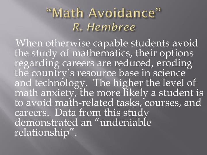 """Math Avoidance"""
