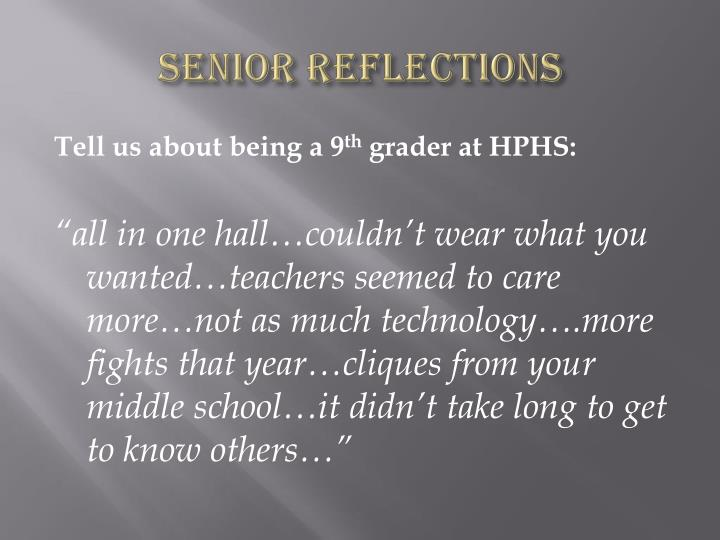 Senior reflections