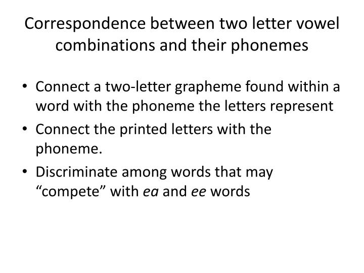 Correspondence between two letter vowel combinations and their phonemes