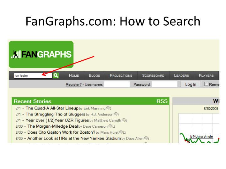 FanGraphs.com: How to Search