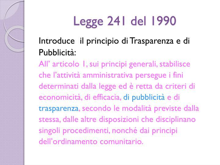 Legge 241 del 1990