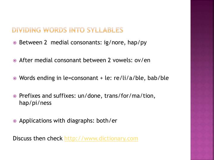 Dividing Words Into Syllables