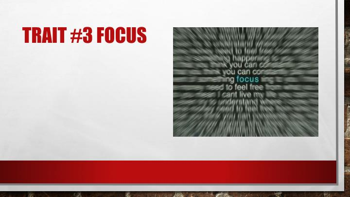 Trait #3 Focus