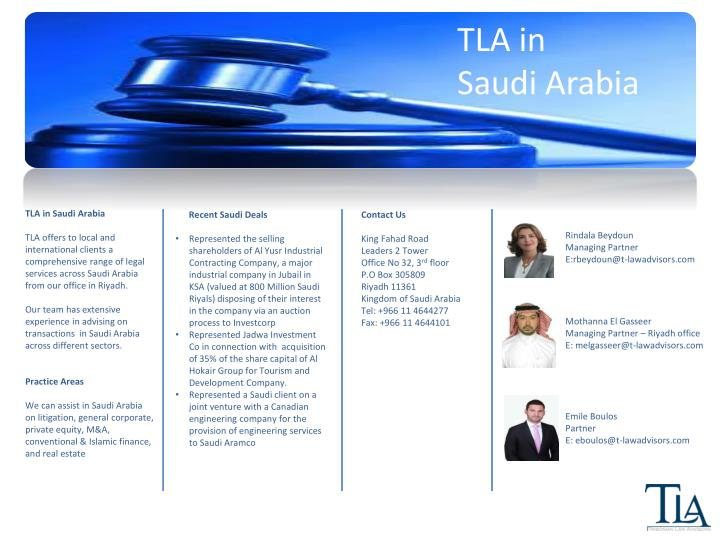 TLA in          Saudi Arabia