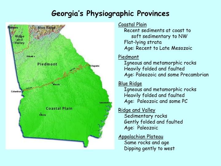 Georgia s physiographic provinces